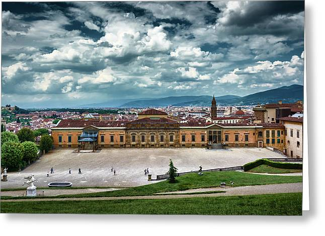 The Meridian Palace And Cityscape In Florence, Italy Greeting Card