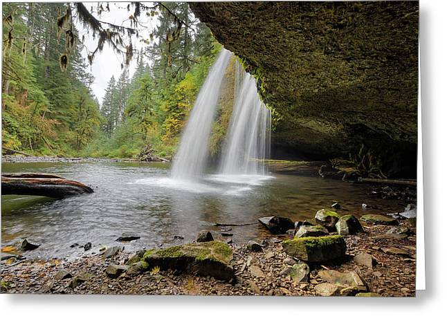 Under Upper Butte Creek Falls In Autumn Greeting Card by David Gn