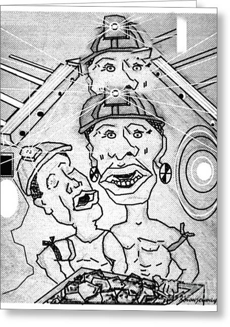Underground Mine Workers In South Africa Greeting Card