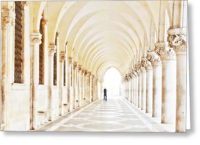 St. Mark Greeting Cards - Underneath the Arches Greeting Card by Marion Galt