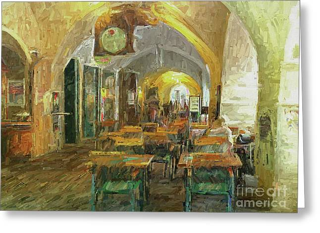Underneath The Arches - Street Cafe, Prague Greeting Card