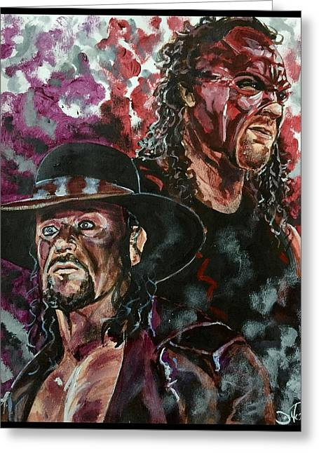 Greeting Card featuring the painting Undertaker And Kane by Joel Tesch