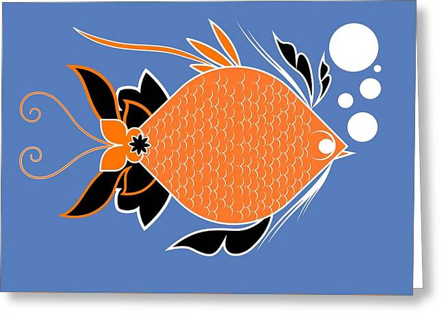 Underwater Ocean Fish And Bubbles Illustration Greeting Card
