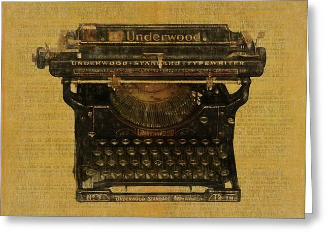 Underwood Typewriter On Text Greeting Card by Dan Sproul