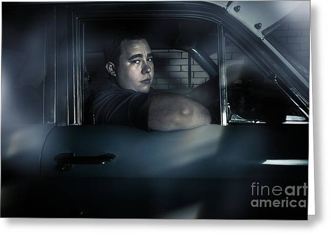 Underworld Man Looking Out Car Window In Dark Greeting Card