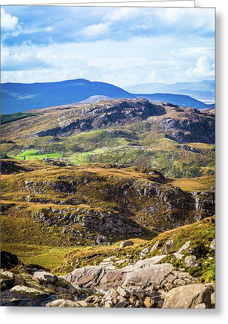 Undulating Green, Purple And Yellow Rocky Landscape In  Ireland Greeting Card by Semmick Photo