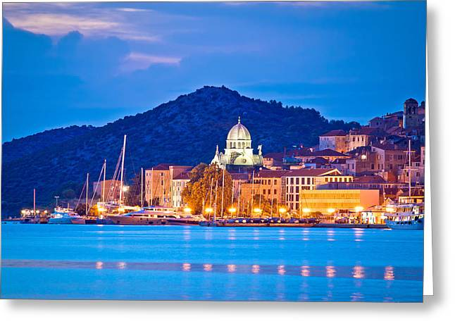 Unesco Town Of Sibenik Blue Hour View Greeting Card