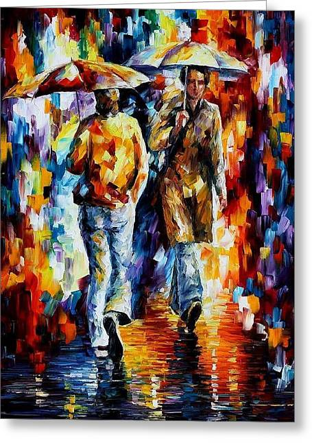 Unexpected Meeting Greeting Card by Leonid Afremov
