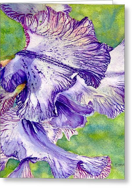 Unfolding-iris Greeting Card by Nancy Newman