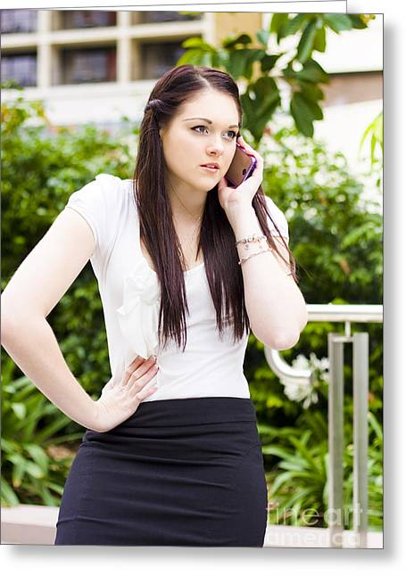 Unhappy Business Woman Talking On Cell Phone Greeting Card by Jorgo Photography - Wall Art Gallery