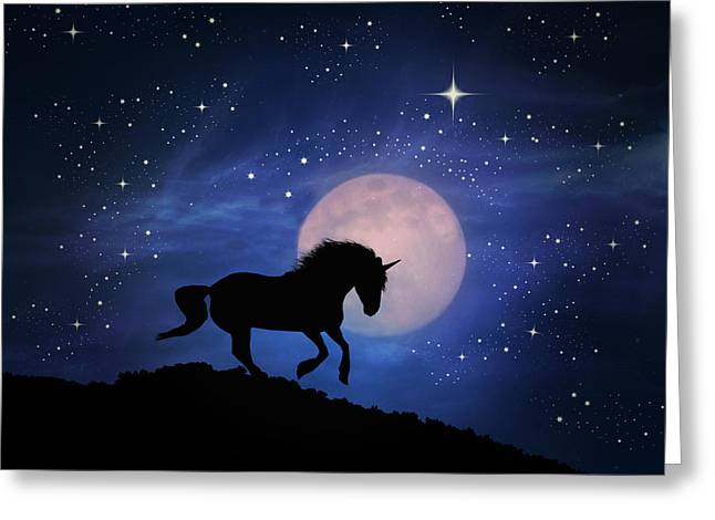Unicorn And Moon Greeting Card by Stephanie Laird