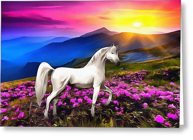 Unicorn At Sunset Greeting Card by Anthony Caruso