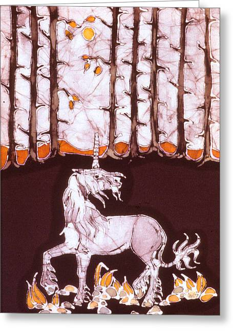 Unicorns Tapestries - Textiles Greeting Cards - Unicorn Below Trees in Autumn Greeting Card by Carol  Law Conklin