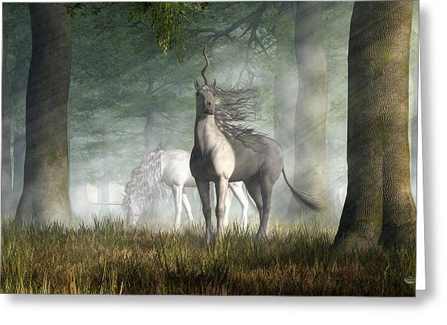Greeting Card featuring the digital art Unicorn by Daniel Eskridge