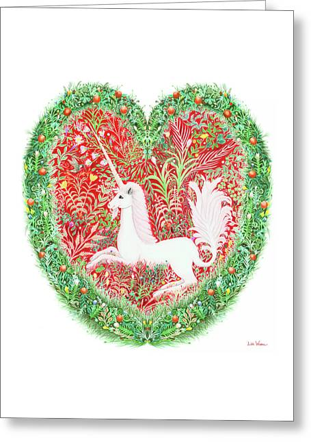 Unicorn Heart With Millefleurs Greeting Card