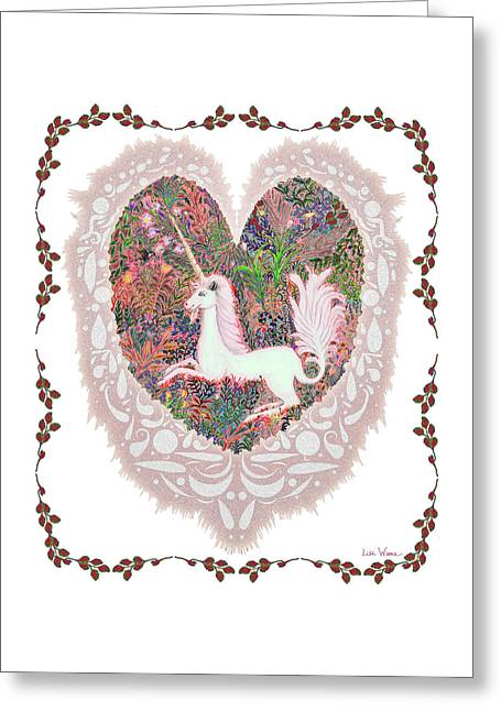 Unicorn In A Pink Heart Greeting Card by Lise Winne
