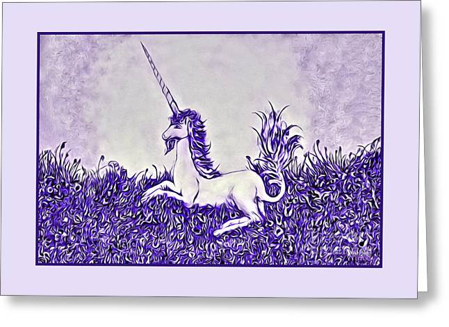Greeting Card featuring the digital art Unicorn In Purple by Lise Winne