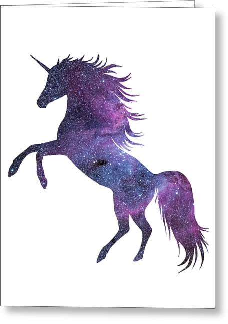 Unicorn In Space-transparent Background Greeting Card