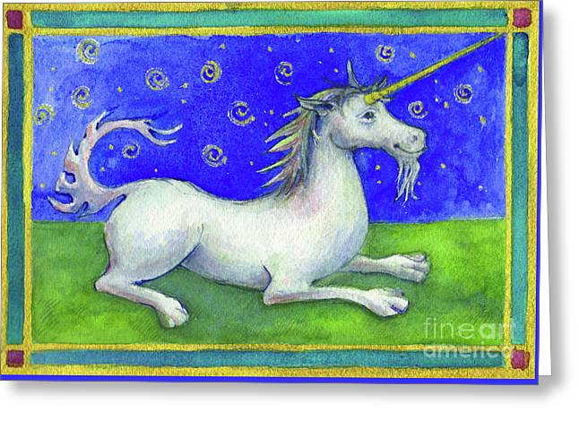 Greeting Card featuring the painting Unicorn by Lora Serra