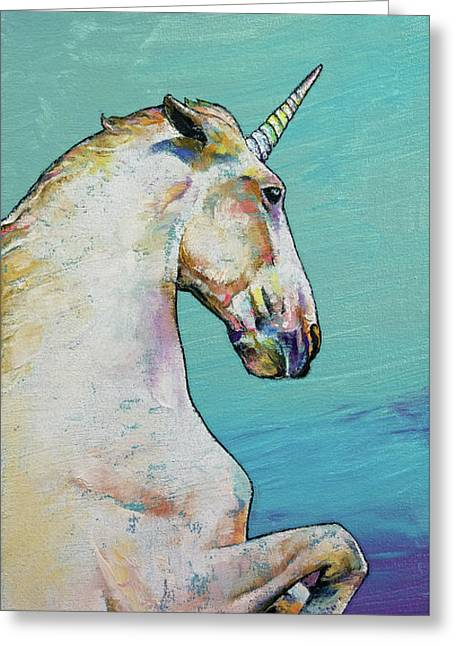 Unicorn Greeting Card by Michael Creese