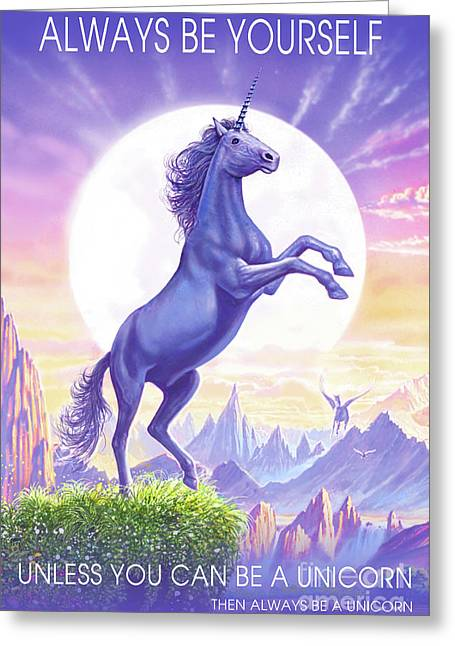 Unicorn Moon Text Greeting Card