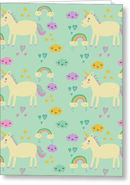 Unicorn Pattern Greeting Card by Nicole Wilson