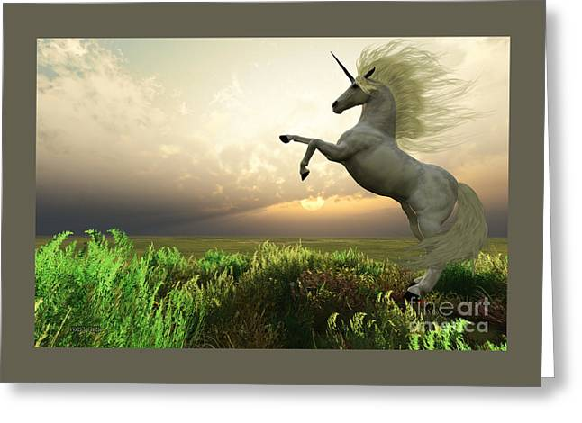 Unicorn Stag Greeting Card by Corey Ford