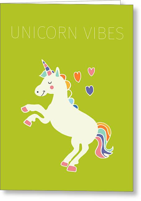 Unicorn Vibes Greeting Card by Nicole Wilson