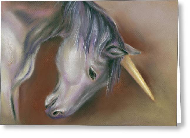 Unicorn With A Golden Horn Greeting Card
