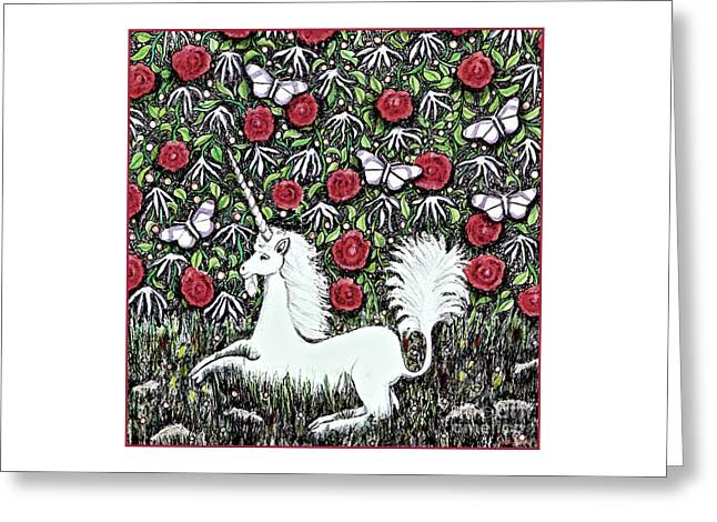 Unicorn With Red Roses And Butterflies Greeting Card