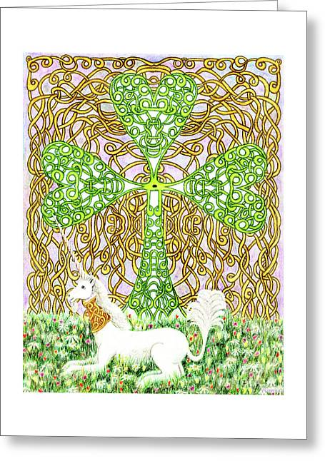 Greeting Card featuring the drawing Unicorn With Shamrock by Lise Winne