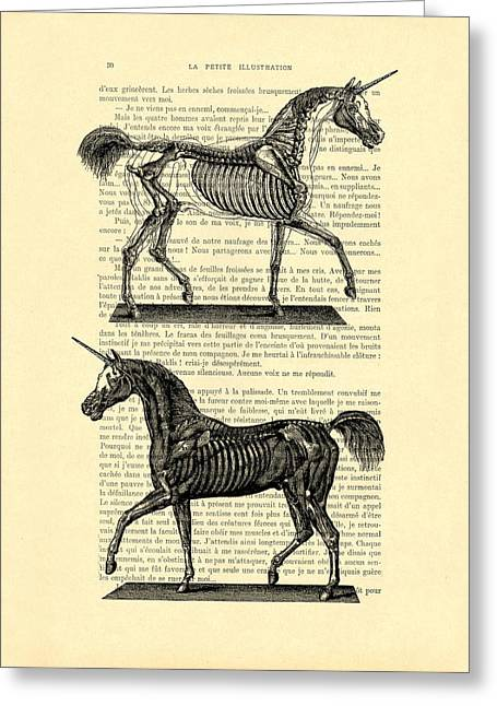 Unicorns Anatomy Greeting Card by Madame Memento