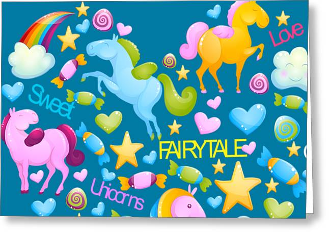 Unicorns And Candy Greeting Card