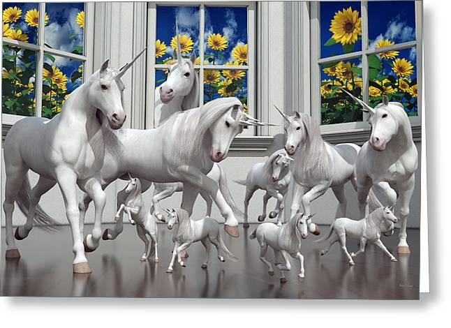Unicorns Greeting Card by Betsy Knapp