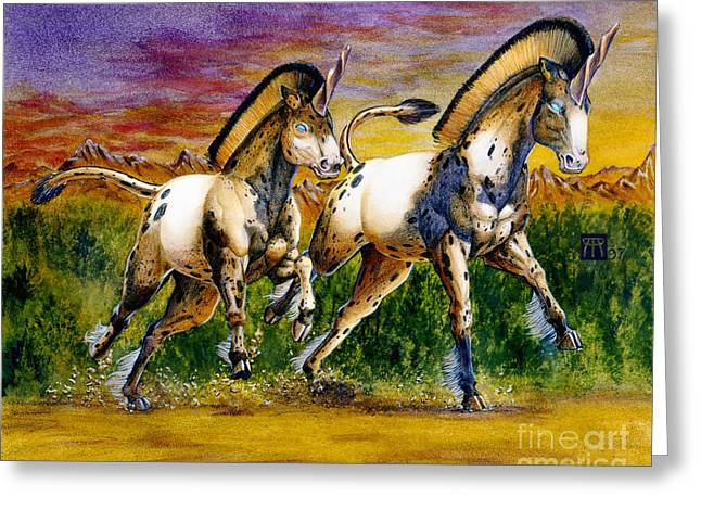 Unicorns In Sunset Greeting Card by Melissa A Benson