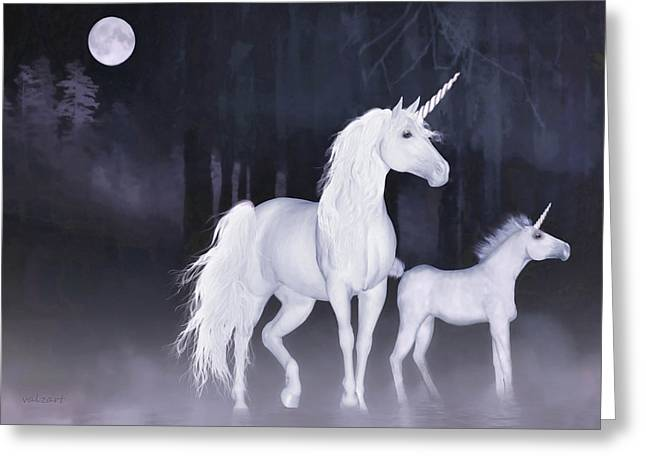 Unicorns In The Mist Greeting Card