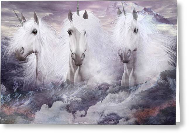 Unicorns Of The Mountains Greeting Card