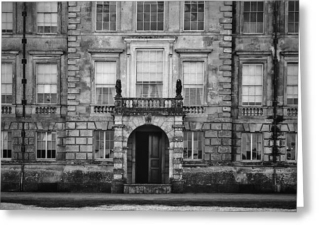Unidentified Old English Mansion House With Balcony Overlooking  Greeting Card