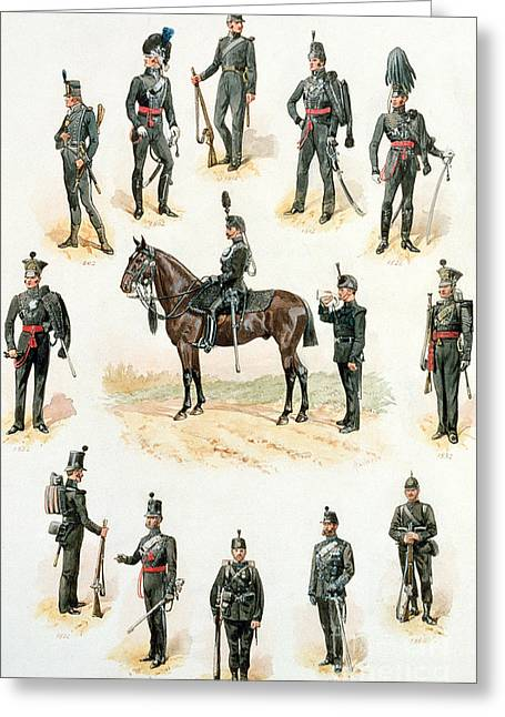 Uniforms Of The Rifle Brigade Greeting Card by Richard Simkin