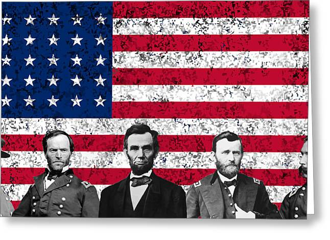 Sea Mixed Media Greeting Cards - Union Heroes and The American Flag Greeting Card by War Is Hell Store