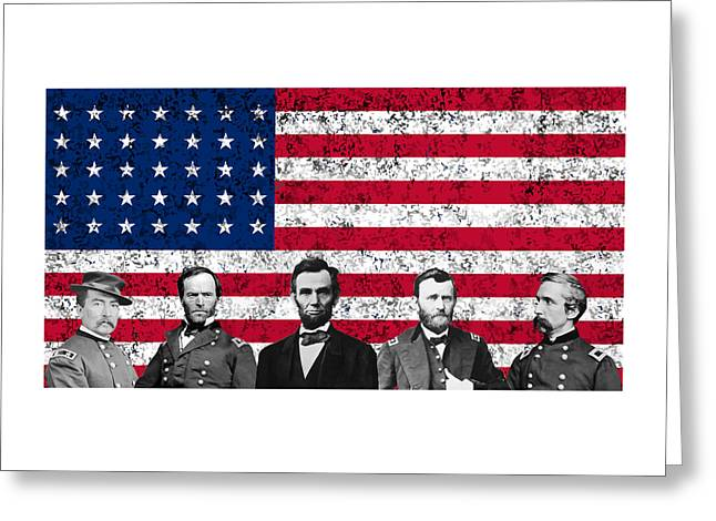 Abraham Greeting Cards - Union Heroes and The American Flag Greeting Card by War Is Hell Store