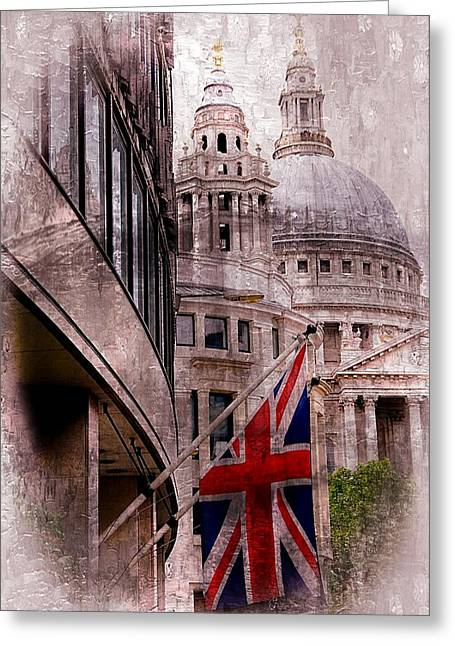Union Jack By St. Paul's Cathdedral Greeting Card by Karen McKenzie McAdoo