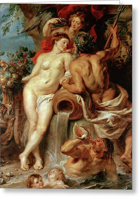 Union Of Earth And Water Greeting Card by Peter Paul Rubens