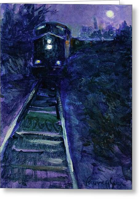 Union Pacific At Night Greeting Card