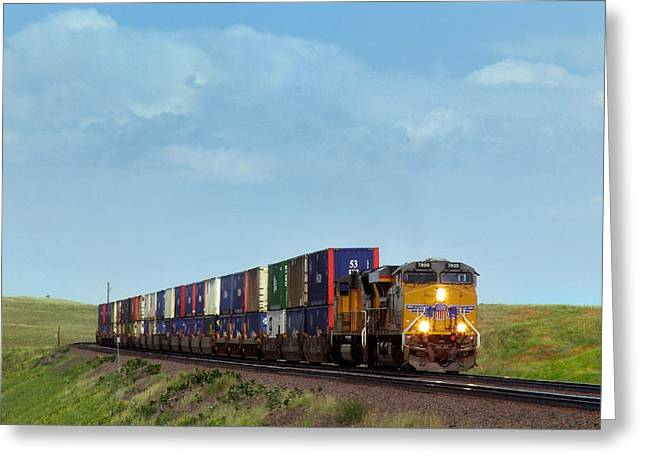 Boarder Greeting Cards - Union Pacific Container Train Bound for the Pacific Coast Greeting Card by Ken Smith