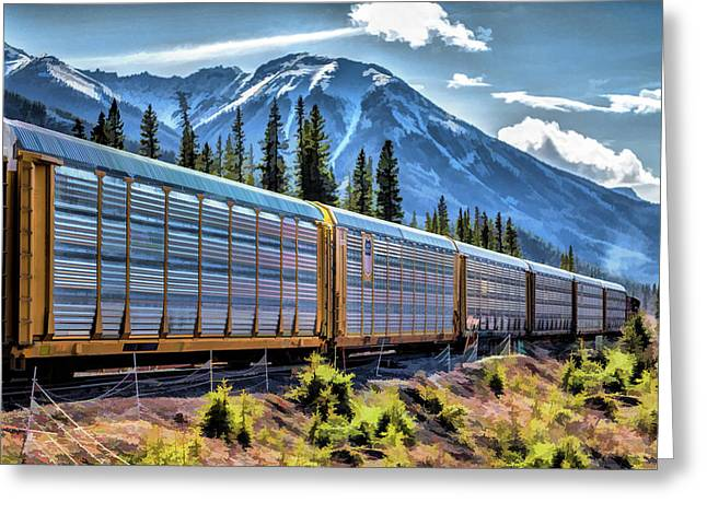 Union Pacific Mountain Freight Train Greeting Card
