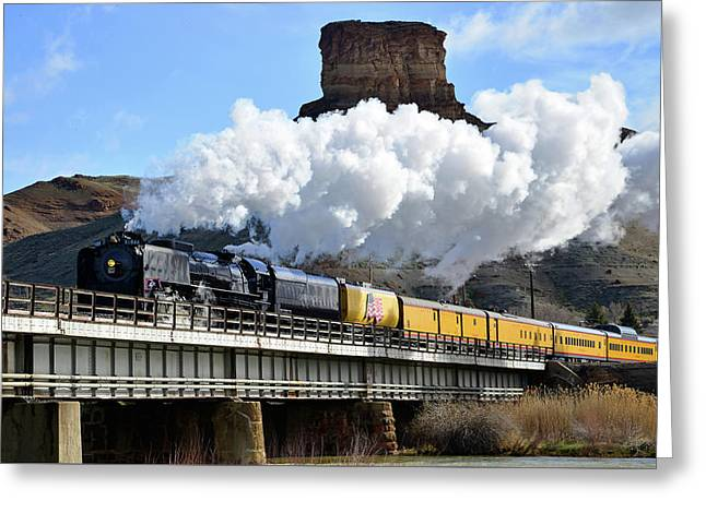Union Pacific Steam Engine 844 And Castle Rock Greeting Card by Eric Nielsen