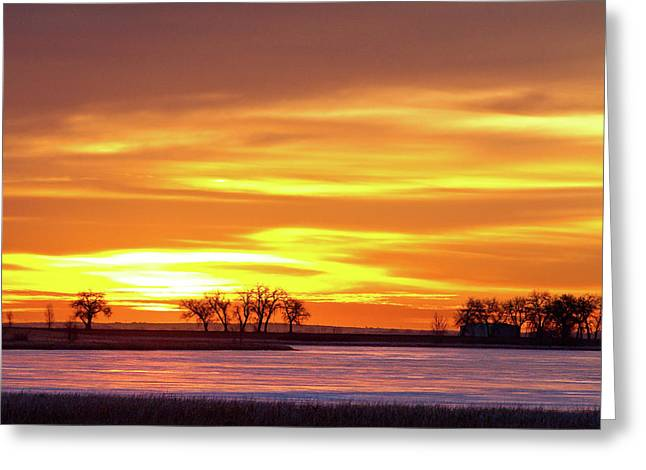 Sunset Canvas Art Greeting Cards - Union Reservoir Sunrise Feb 17 2011 Canvas Print Greeting Card by James BO  Insogna