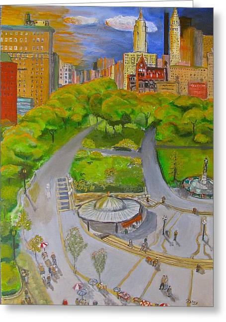 Union Square Nyc Greeting Card by Natey Freedman