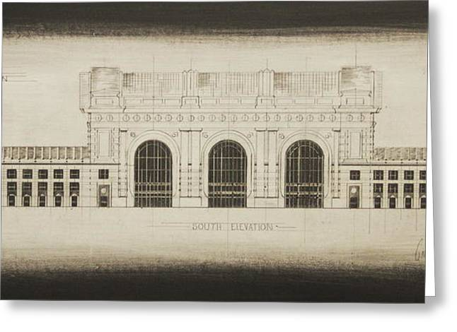 Union station blueprint drawing by gregory lee union station blueprint greeting card by gregory lee malvernweather Image collections